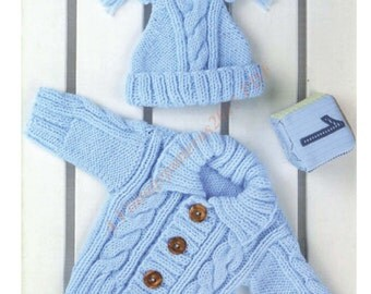 "Cardigan And Hat Knitting Pattern Aran 0 Months - 4 Years 16""-24"" -   PDF Download"
