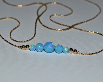 OPAL NECKLACE // Blue Opal Ball Necklace - Opal Charm Necklace - Opal Bead Necklace - Opal Dot Necklace - Everyday Opal Necklace