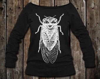 CICADA - Women's Wideneck Pullover Slouchy Sweatshirt in Black (Sizes Available: S-2XL)