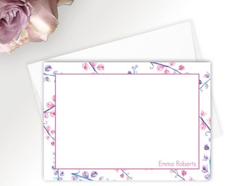 Wedding stationary set, Personalized stationery set, stationary set, Floral note card set, Thank you cards wedding