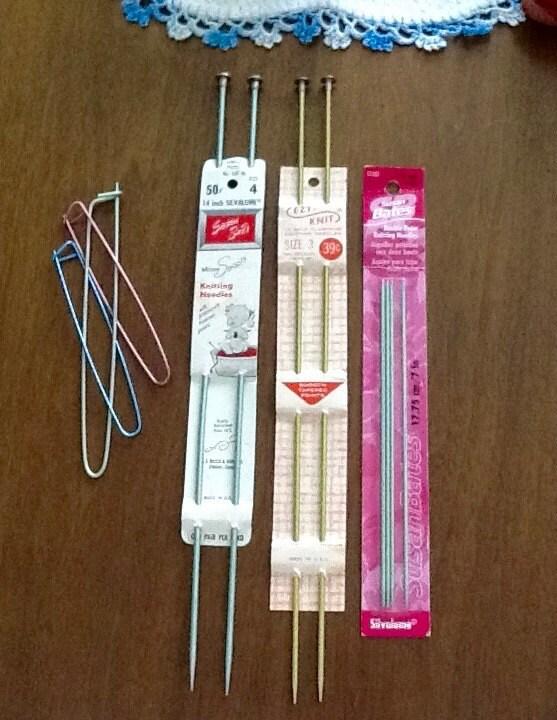 Knitting Needle Stitch Holder : Vintage Knitting Needles 3 Sets Needles and 3 Stitch Holders