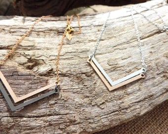Chevron Necklace, geometric chocker, rose gold, black gold, silver, love