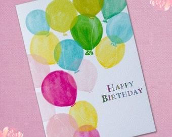 Birthday card - Balloons Birthday Card, Happy Birthday Card, Birthday Cards, Thank You Card, Happy Retirement, Congratulations Card