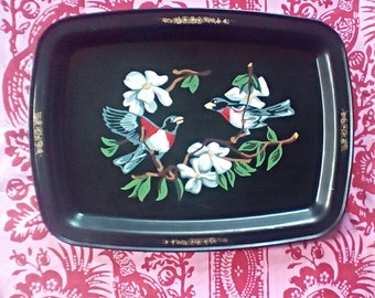 Vintage Serving Tray Featuring Birds