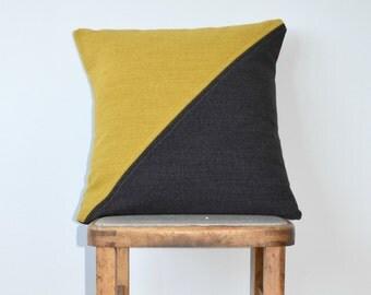 Luxury Grey and Yellow Geometric Design Wool Cushion