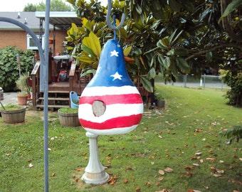 Large Patriotic Birdhouse Gourd 056