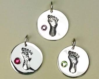 Sterling Silver Birthstone Baby Footprint Charms, 925 Silver Baby Foot Print with BiRthstones/month, Free Shipping !