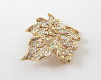 Maple Leaf Gold Tone & Aurora Borealis Brooch Pin