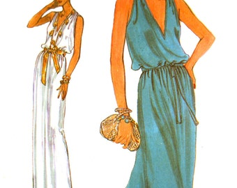 70's Vogue 7354 Sleeveless, Deep V-Neckline Evening/Prom/Formal Dress with Blouson Bodice in Two Lengths Sewing Pattern Size 10