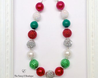 Red Green White and Silver Christmas Holiday Chunky Bubblegum Beaded Toddler Girls Necklace