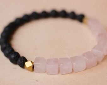 the south dakota / rose quartz and lava beads stacking bracelet / lava rock bracelet / diffuser bracelet / diffuser jewelry