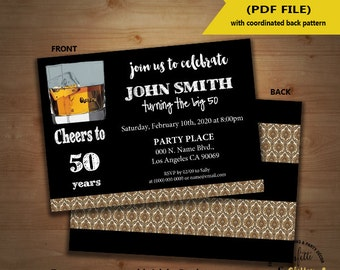 Cheers to party birthday invitation adult party whiskey drink invite Instant Download YOU EDIT TEXT and print yourself invite 5185