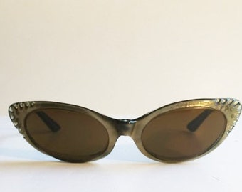 Vintage Gold Cat Eye Rhinestones Sunglasses, Tru-Tone Temptress American Optical Frames, Mid Century Gold Atomic Lucite Cateye Sunglasses