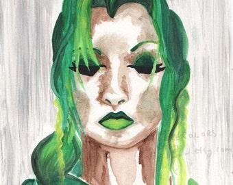 "Surreal Art Print, Watercolor Art, Portrait, ""Toxic,"" Home Decor Gift Print"