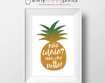 Pina Colada Digital Bar Print, 8x10 DIY Coconut Rum Instant Download, Whimsical Bar Wall Art, Shiny Happy Prints