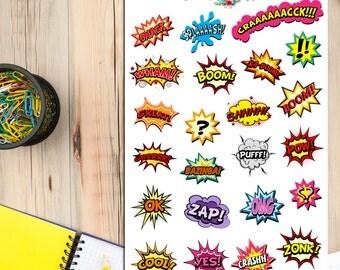 Comic Book Speech Bubbles Superheroes Planner Stickers (S-110)