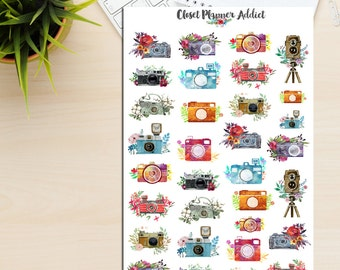 Watercolour Retro Vintage Cameras Planner Stickers (S-086)