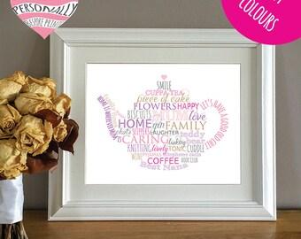 Personalised teapot print - Christmas gift - Birthday - Customised print - DIY gift - Mum - Mummy