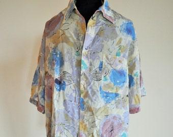 Vintage Mens Silk Shirt / Pure Silk / 100 % Silk / XL / Vacation / Hawaiian / Shirts 80s / Hippie / Light / Floral / Flowers