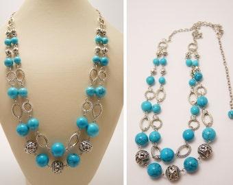 BIJOU925SALE2016 Turquoise Necklace, Turquoise Beaded Necklace, Statement Necklace, Beaded Necklace, Blue Necklace, Blue Bead Necklace