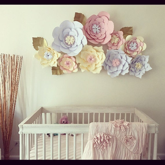 Wall Decoration For Event : Large paper flowers wall decor event set by