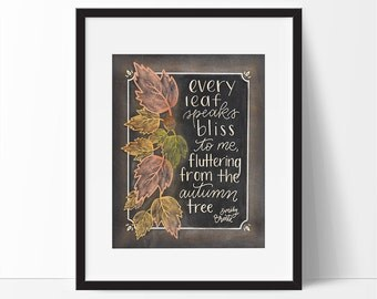 Emily Bronte Quote, Fall Printable, Fall Printable Decor, 5 x 7, 8 x 10, Chalkboard Fall Printable, Fall Art, Fall Decorations, Fall Decor.