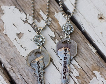 Stamped Key Necklace