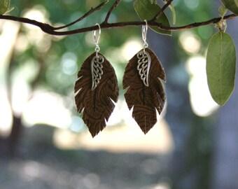 "Leather Feather Earrings/ Angel Wings / Bohemian Jewelry / 3"" hanging"