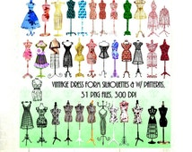 Dress Form Silhouettes Clipart,31 png files, 300 dpi,Vintage Manniquin Clipart,Commercial Use OK, Black & Patterned Dress Forms