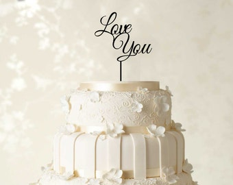 Love You Cake Topper, Wedding Cake Topper, Couple Cake Topper, Custom Cake Topper, Personalized Cake Topper, Glitter Cake Topper CATO44