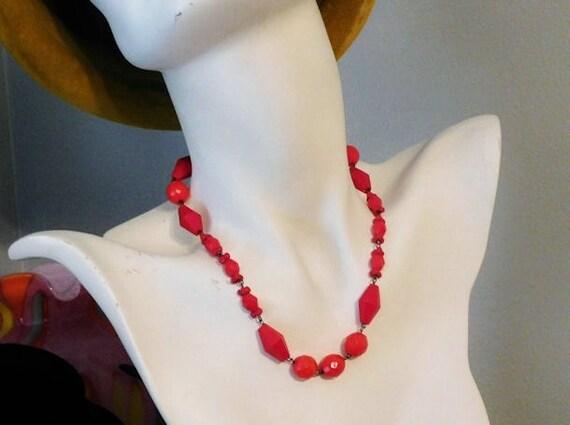 Vintage Czech Glass Necklace / Art Deco / Signed Czechoslovakia/ Red Glass Necklace / Beaded