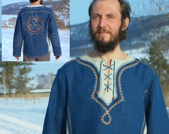 "Pure linen men's shirt ""Royal"" / rustic shirt / ancient triple helix embroidery"