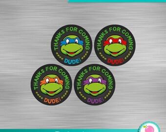 Ninja Turtles Thank You Tag Print Yourself, TMNT Thank You Tags, Ninja Turtles printables