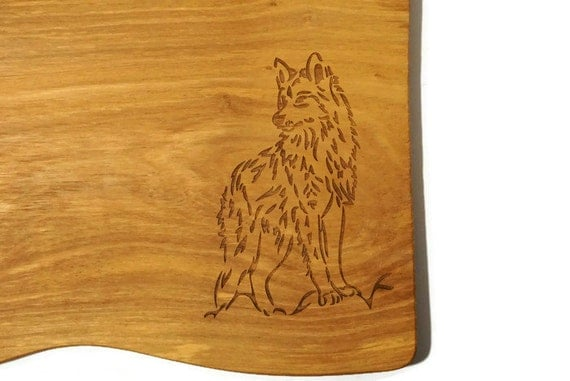 Wolf Cutting Board Wolf Home Decor 5th Anniversary Olive