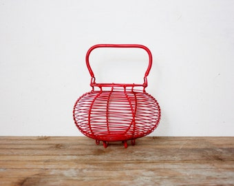 Vintage French Red Dipped Wire Egg Basket, Farmhouse, French Country, Kitchen, Gathering, Panier, Kitchenalia, Planter, Cache Pot