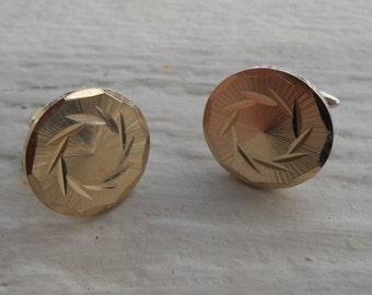 Vintage Gold Round Disk/ Sun Abstract Cufflinks. 1990s.