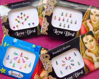49 bindis - 4 bindi packs designer bollywood bindis / belly dance bindis / bindi stckers, body art tattoos