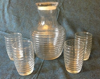 Vintage Anchor Hocking 5 Piece Ribbed Juice Set, Ribbed Glass Carafe and 4 Juice Glasses