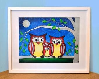Family of Night Owls Art Print