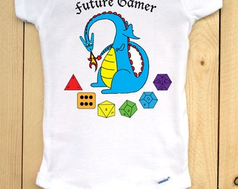 Dungeons and Dragons Inspired Baby Onesie/ Dragon Onesie with d20/ Nerdy Baby Clothes for Gamer Parents/ Role Playing Games/ Gamer Kids