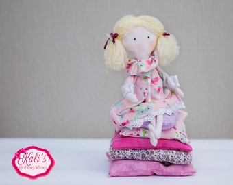 "MADE TO ORDER ""The Princess and the Pea"" fabric doll"
