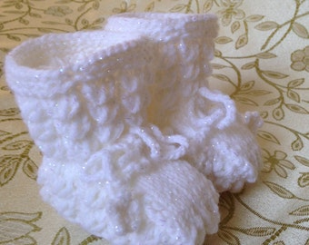 Knitted wool baby booties, Handmade baby booties, Girl's baby booties, Boy's baby booties.