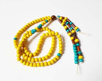 108 Mala Yellow Beads 8 mm Necklace, Long Tassel Boho Necklace, Ethnic Hippie Necklace, Indie Buddhist Mala Beads, Handmade Wood necklace