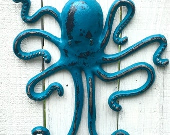 Cast Iron Octopus Decor - Octopus Bathroom Decor - Octopus Wall Art - Beach House Decor - Lake House Decor - Bathroom Wall Art - Pool House