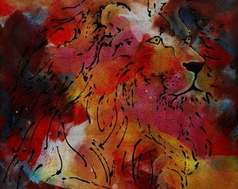 "Painting "" The Lion, king of the Jungle """