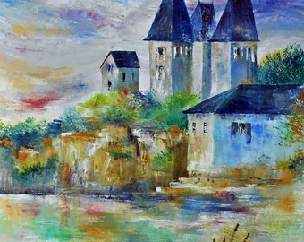 Painting Castle at the water's edge
