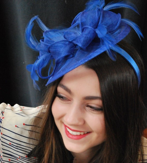 Fascinator Royal Blue Fascinator Tea Party Hat Church Hat