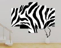 Zebra Black and White 5 panel Canvas Modern Art, (over 1 metre) 36 x 50 inch Art Print Canvas Wall Art Unframed Canvas Contemporary!!