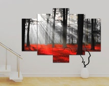 """5 panel Canvas wall Art Red and Black Forest, Mystical Forest 36 x 50"""" Art Trees Print Canvas Wall Art Unframed Contemporary!!"""