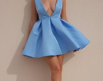 Blue sexy, romantic hand bell dress.